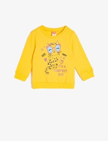 Koton Kids Baskılı Sweatshirt Sarı